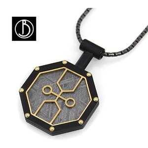 Best Boco ギベオン メテオライト Meteorite Pendant XDB 隕石 ネックレス/ペンダント ブラック×ゴールド GMS-PDX-D-Black-REALIZE|j-sekine2nd