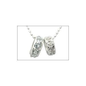 K14WG アクアマリン ダイヤモンド ダブルミニリング ネックレス 18228004|j-sekine2nd