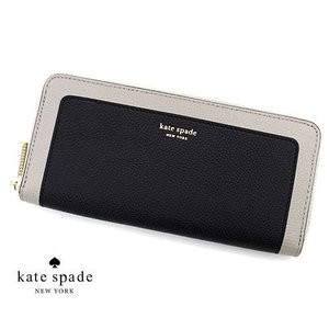 kate spade ケイトスペード PWRU7771 106 MARGAUX SLIM CONTINENTAL WALLET 小銭入れ付 ラウンドファスナー長財布 スリム BLACK/WARM TAUPE|j-sekine2nd