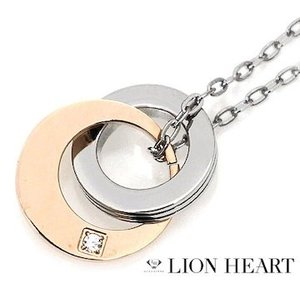 LION HEART ライオンハート 04N153SL ステンレス メンズ/レディース 2連リング ネックレス/ペンダント キュービックジルコニア シルバー×ピンクゴールド|j-sekine2nd
