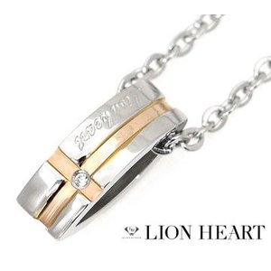 LION HEART ライオンハート 04N125SL ステンレス メンズ/レディース クロスライン ネックレス/ペンダント キュービックジルコニア シルバー×ピンクゴールド|j-sekine2nd