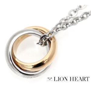 LION HEART ライオンハート 04N124SL ステンレス メンズ/レディース ダブル 2連リング ネックレス/ペンダント キュービックジルコニア シルバー×ピンクゴールド|j-sekine2nd