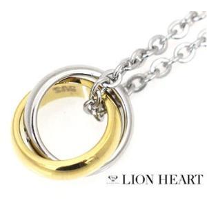 LION HEART ライオンハート 04N124SLYG ステンレス メンズ/レディース ダブル 2連リング ネックレス/ペンダント キュービックジルコニア シルバー×イエロー|j-sekine2nd