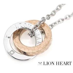 LION HEART ライオンハート 04N135SL ステンレス メンズ 2連リング チェック ネックレス/ペンダント キュービックジルコニア シルバー×ピンクゴールド|j-sekine2nd