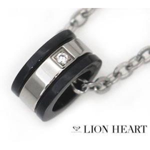 LION HEART ライオンハート 04N122SM ハウル メンズ/レディース リング ライン ネックレス/ペンダント キュービックジルコニア シルバー×ブラック|j-sekine2nd