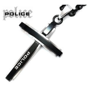 POLICE  ポリス 25695PSB01 GLAZE バイカラー クロス/十字架 ネックレス/ペンダント ブラック×シルバー|j-sekine2nd