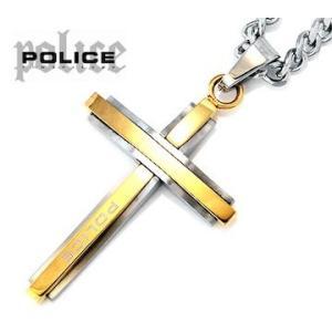 POLICE  ポリス 25695PSG02 GLAZE バイカラー クロス/十字架 ネックレス/ペンダント ゴールド×シルバー|j-sekine2nd