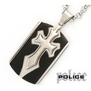 POLICE ポリス 25706PSB01 SPIRIT ドッグタグ プレート クロス ネックレス/ペンダント シルバー×ブラック|j-sekine2nd