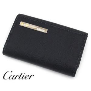 Cartier 新品同様 カルティエ サントス ドゥ カルティエ 6連キーケース ブラック グレイン カウハイド メンズ用 L3000775 中古品 USED|j-sekine2nd