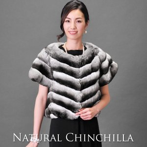 高級毛皮/ファー/ナチュラル チンチラ ジャケット ノーカラー 半袖 40cm丈 / レディース j-white