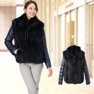 シルバーフォックス & ダウン ジャケット ティペット付き / レディース 着丈60cm|j-white
