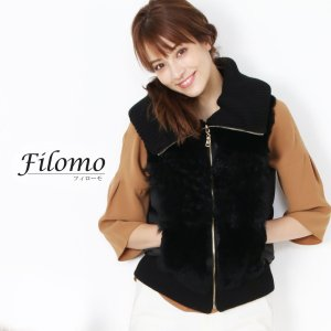 Filomo [フィローモ] レッキス & カルガンラム & ダウン ベスト ニット 襟 レディース ダウン90% 使用 ゴールド金具 ブラック(01000873r)|j-white
