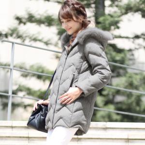 Filomo [フィローモ] ダウンコート フォックス ファー フード付き レディース 冬 ライトグレー/ブラック(02000219r) j-white