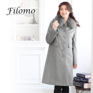 Filomo ブランド コート レディース カシミヤ混 ウール ファー付き ステンカラー 大きいサイズ  (No.02000232)|j-white