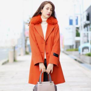 ERA/エラ カシミヤ 100% コート フォックス 襟 コート 着丈90cm レディース 冬 ライトベージュ/オレンジ/ブラック(02000239r)|j-white