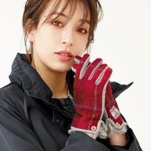 ハリスツイード 手袋 レディース ラビットファー スマホ 対応 グローブ 全4色[ネコポスで送料無料...