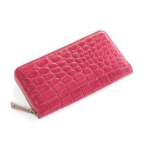 クロコダイル長財布シャイニング加工 ラウンド メタル ファスナー カラー ピンク
