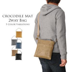 クロコダイルバッグ crocodile 本革 ワニ革 クロコダイル ショルダーバッグ 2way マット加工   メンズ j-white