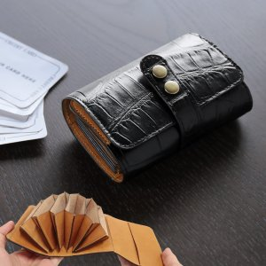 クロコダイル カードケース マット加工 メンズ ブラック|j-white