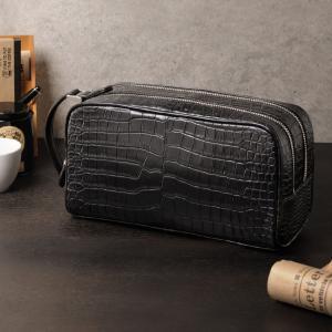 スモールクロコダイル マット加工 ダブルファスナー セカンドバッグ メンズ ブラック H.C.P社製原皮使用 保証書 付き|j-white