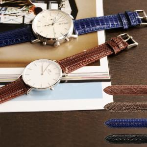 腕時計 ベルト 20mm 本革 防水 リザード レザー レディース(No.06001248) [ネコポスで送料無料]|j-white