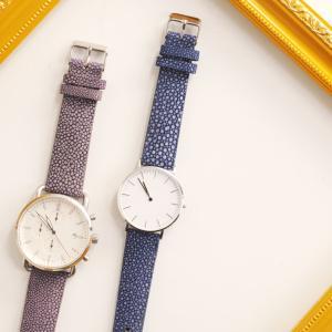 腕時計 ベルト 18mm 本革 防水 スティングレイ レザー レディース (No.06001249) [ネコポスで送料無料]|j-white