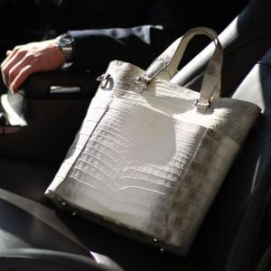ヒマラヤ クロコダイル トートバッグ 2WAY 仕様 メンズ 日本製 本革 鰐革 縦型 JRA 保証書 付き(No.06001257-mens-1)|j-white