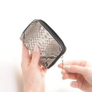 ダイヤモンド パイソン コインケース レディース ラウンド ファスナー 軽量 ミニ 財布 一枚革 全5色(No.06001311)|j-white