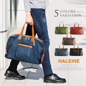 HALEINE[アレンヌ] 牛革 栃木レザー ナイロン ボストン バッグ / メンズ 日本製 革小物