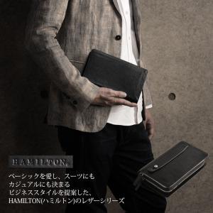 [HAMILTON] ハミルトン 牛革 セカンドバッグ ダブルファスナー / メンズ (No.07000219)|j-white
