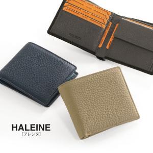 HALEINE/アレンヌ ナチュラルシュリンク 折り財布 レディース トープ/ネイビー/ブラック |j-white