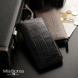 Mia Borsa 長財布 メンズ ラウンドファスナー クロコダイル型押し|j-white