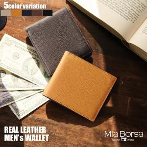 Mia Borsa/ミアボルサ 牛革 二つ 折り財布 両カード グレージュ/キャメル/ネイビー/ダークブラウン/ブラック(No.07000242) ブランド|j-white