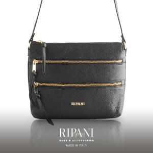 [RIPANI]リパーニ イタリア製 レザー 牛革 ショルダー バッグ 天ファスナー ゴールド金具 レディース ブラック(07000315r)|j-white