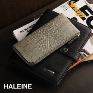 HALEINE 牛革 長財布 L字ファスナー クロコ型押 メンズ 薄型 全3色|j-white