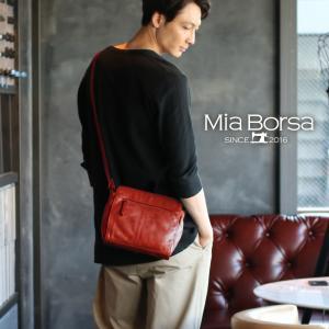 牛革 ショルダーバッグ メンズ ブランド ミニ 小さめ Mia Borsa メッセンジャーバッグ 鞄 レザー 斜めがけ  サコッシュ(No.07000333-mens-1)|j-white