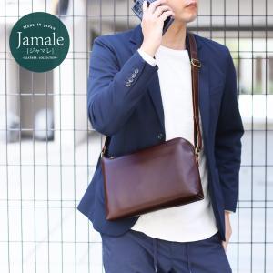 日本製 防水レザー ショルダーバッグ メンズ 斜めがけ かっこいい ブランド Jamale 本革 牛革鞄 肩掛け おしゃれ 通勤通学 L字ファスナー(No.07000341-mens-1)|j-white
