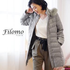 Filomo ダウンコート レディース ライトダウン フード付き フォックス ファー トリミング ブランド 秋冬 M/L/LL|j-white