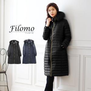 Filomo ブランド ロング ダウンコート レディース フード付き ラクーン ファー トリミング ネイビー/ブラック M/L/LL ダウン80% 使用(No.08000150)[閉店SALE]|j-white