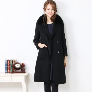 ウール テーラー カラー コート ブルー フォックス ファー 付き トリミング 大きい[期間限定価格]|j-white