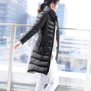 Filomo ダウンコート ダウン90% レディース 暖かい 可愛い 4WAY ストレッチ 軽量 スリム カーキグレー/ブラック 9号/11号/13号/15号 秋冬(No.08000154)|j-white
