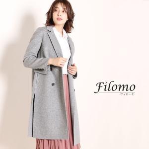 Filomo チェスターコート ダブル レディース ダブルフェイス 一枚仕立て 柔らかい テーラード...
