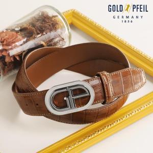 GOLD PFILE 牛革 クロコダイル 型押し ベルト / ロゴ バッグル デザイン 35mm(No.09000052)|j-white