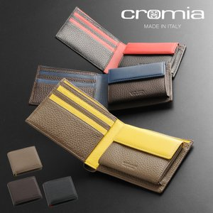 [cromia] クロミア 牛革 折り財布 2つ折り イタリア製 バイカラー メンズ トープ/ブラウン/ブラック(09000108r)|j-white
