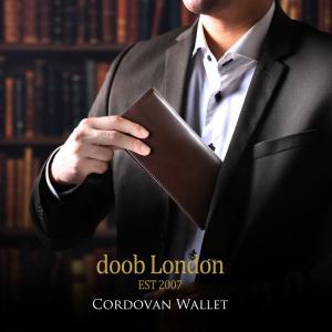 doob London コードバン 長財布 ブランド メンズ 束入れ 一枚革 本革 グリーン/ライト...