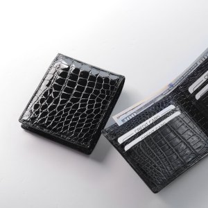 日本製 ナイル クロコダイル 無双 札入れ 両カード 革小物|j-white