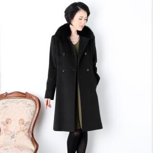 カシミヤ ロング コート フォックス ファー 襟付き ダブル仕立て 着丈95cm / カシミヤ100% / レディース|j-white