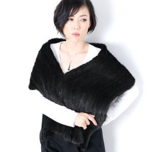 ミンク フレア マフラー 編み込み  レディース|j-white