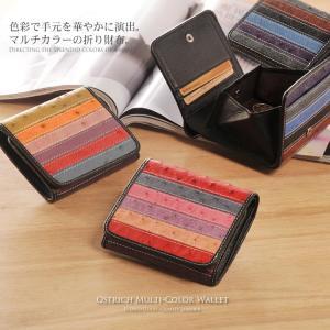 オーストリッチマルチカラー 折り財布 ボックス型 小銭入れ付 / レディース