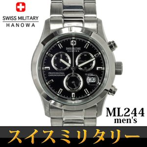送料無料 スイスミリタリー SWISS MILITARY エレガントクロノ 腕時計 メンズ クロノグラフ うでどけい ML-244